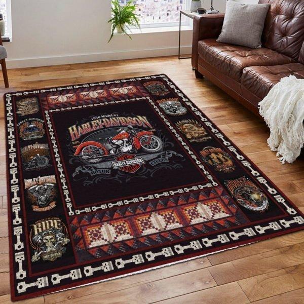 Harley-davidson motorcycle all over printed rug 4