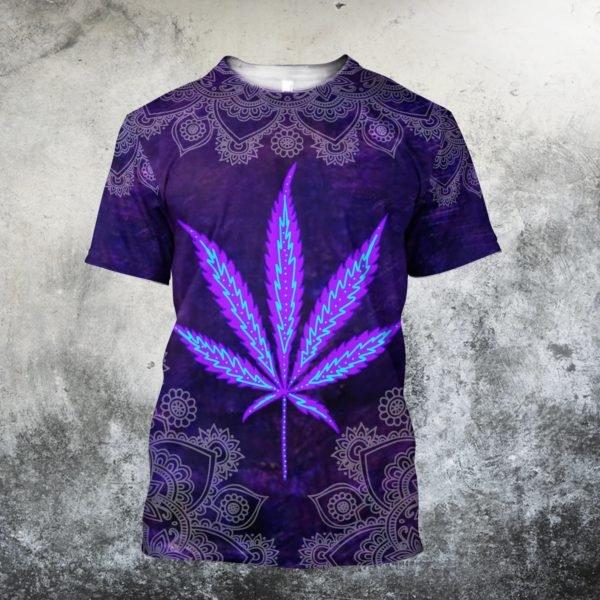 Hippie purple cannabis all over print tshirt