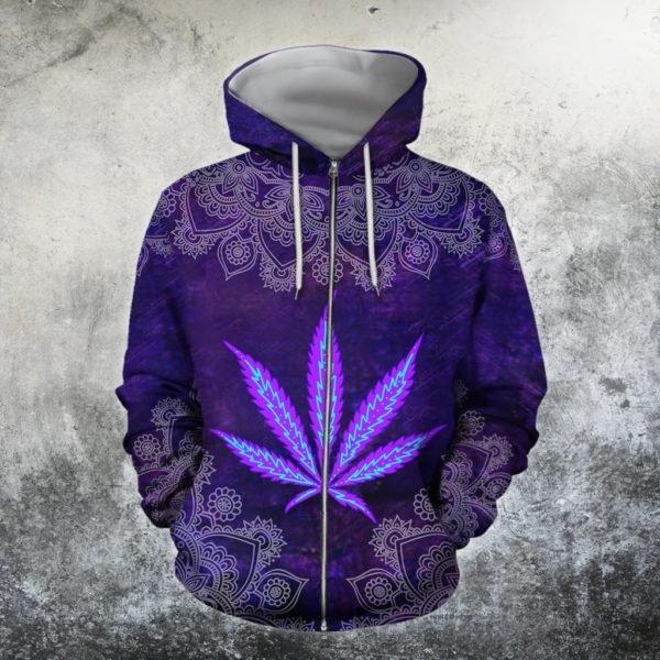 Hippie purple cannabis all over print zip hoodie