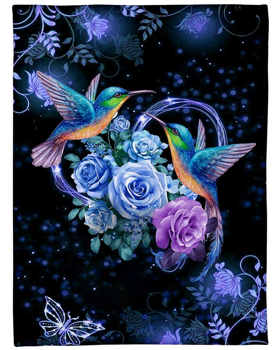 I love hummingbirds flower full over printed blanket 1