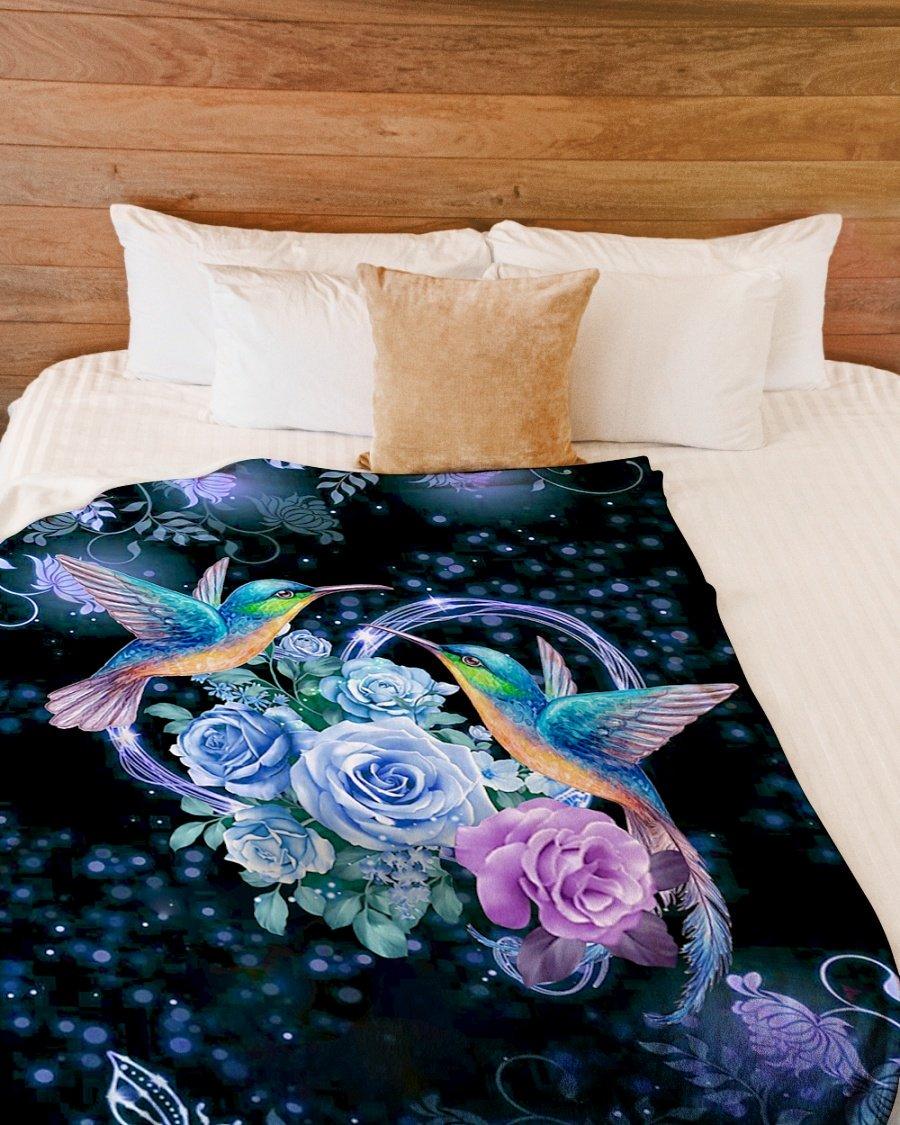 I love hummingbirds flower full over printed blanket 3