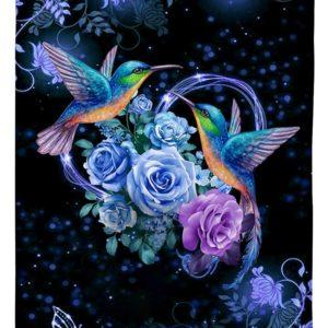 I love hummingbirds flower full over printed blanket 4