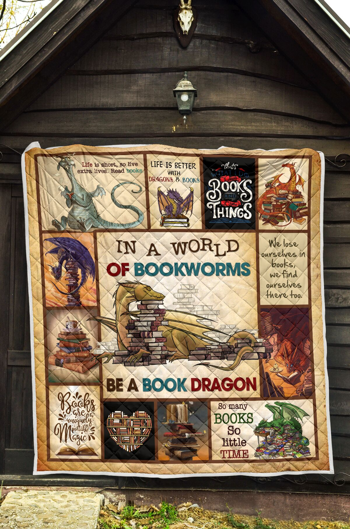 In a world of bookworms be a book dragon full over printed quilt 1