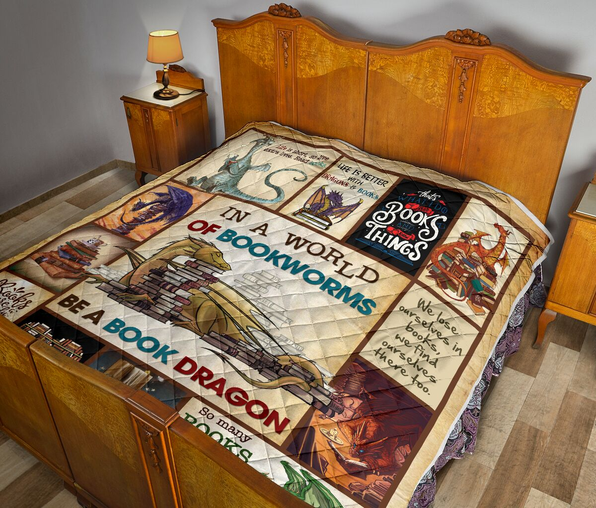 In a world of bookworms be a book dragon full over printed quilt 2