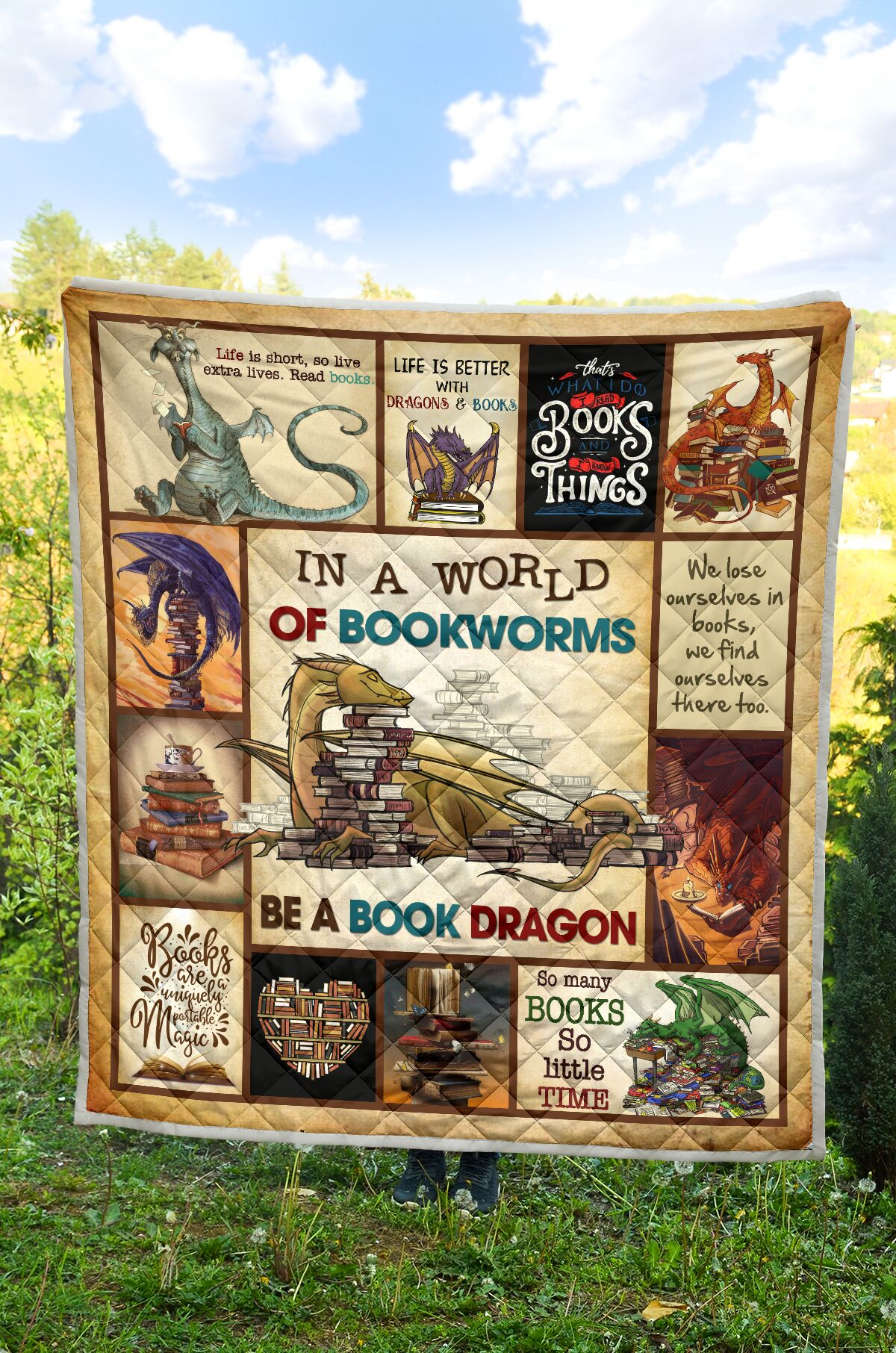 In a world of bookworms be a book dragon full over printed quilt 3