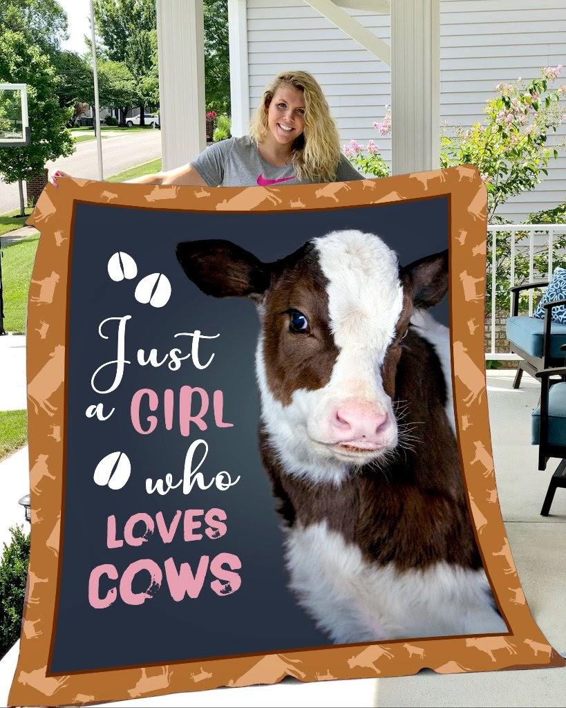 Just girl who loves cows full printing blanket 1