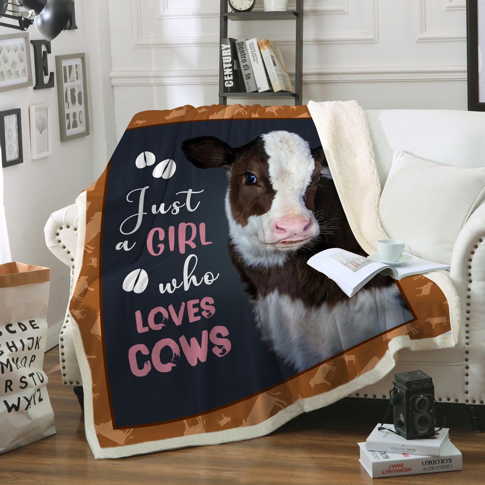 Just girl who loves cows full printing blanket 2
