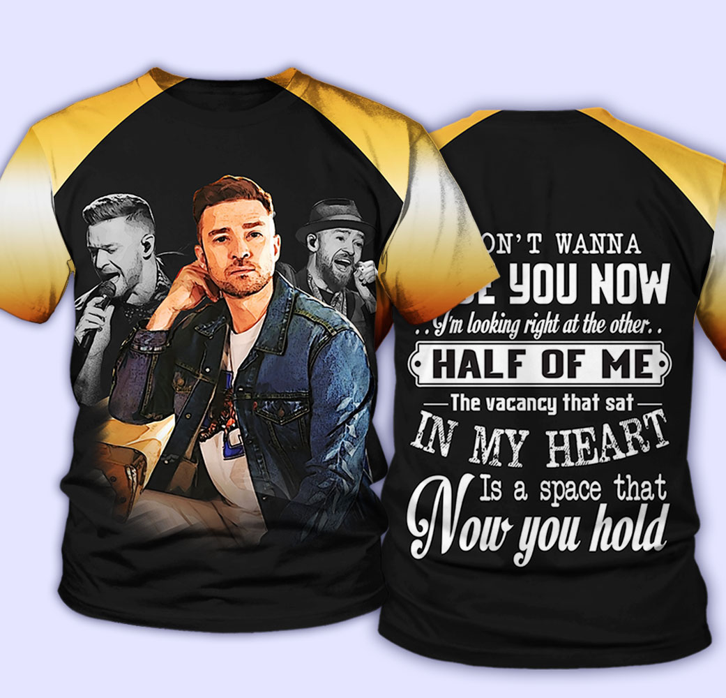 Justin timberlake i don't wanna lose you now all over print tshirt