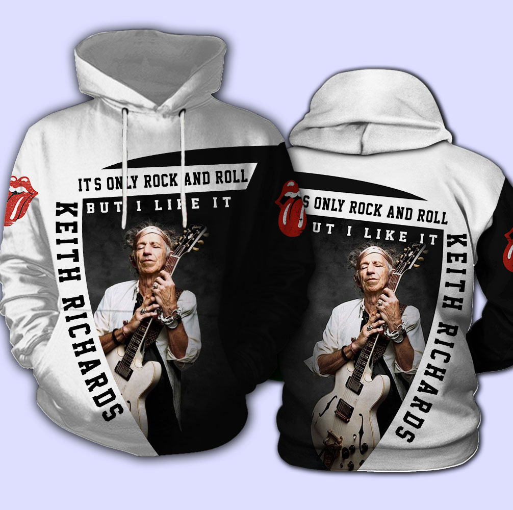 Keith richards the rolling stones it's only rock 'n roll full over print hoodie