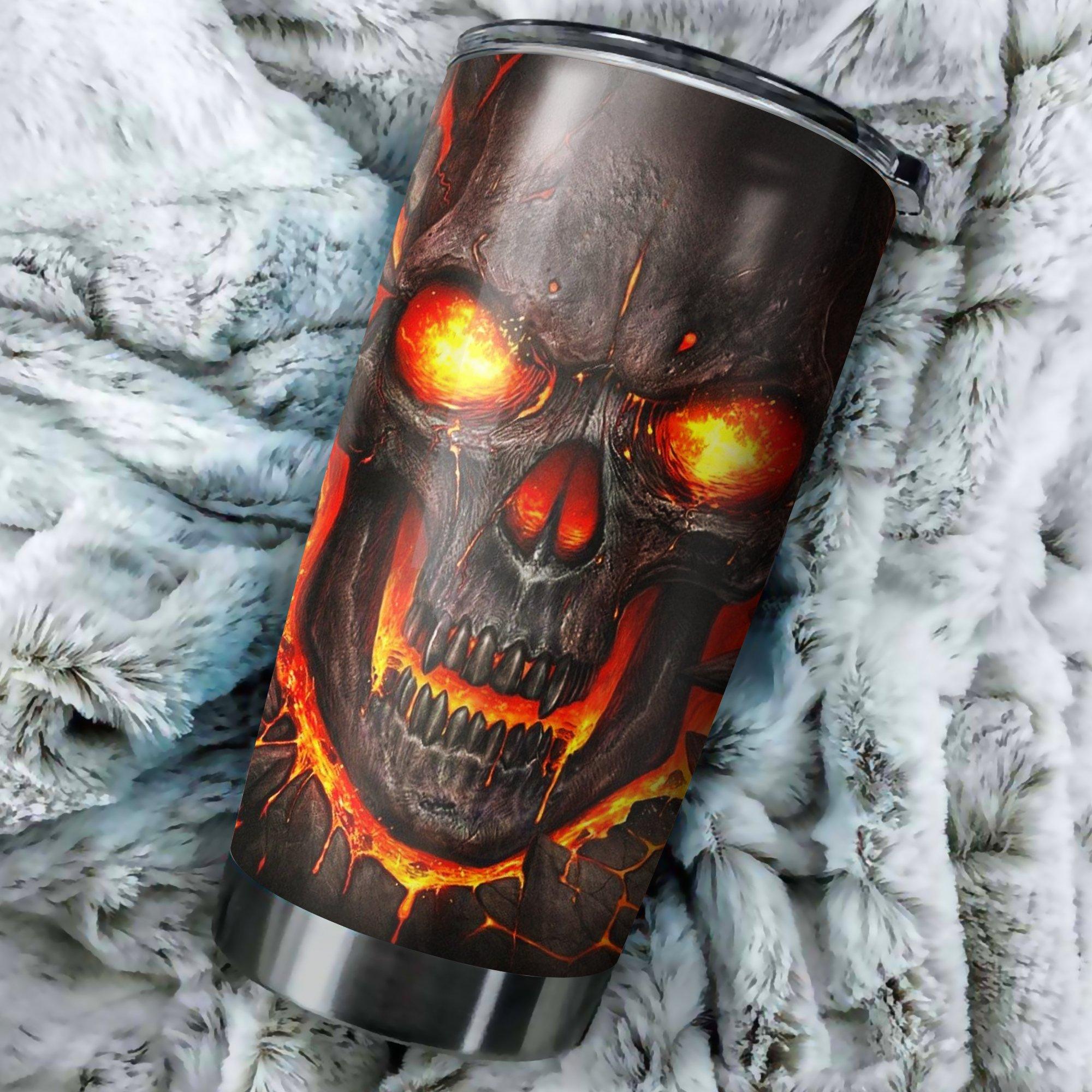 Lava skull full printing steel tumbler 2