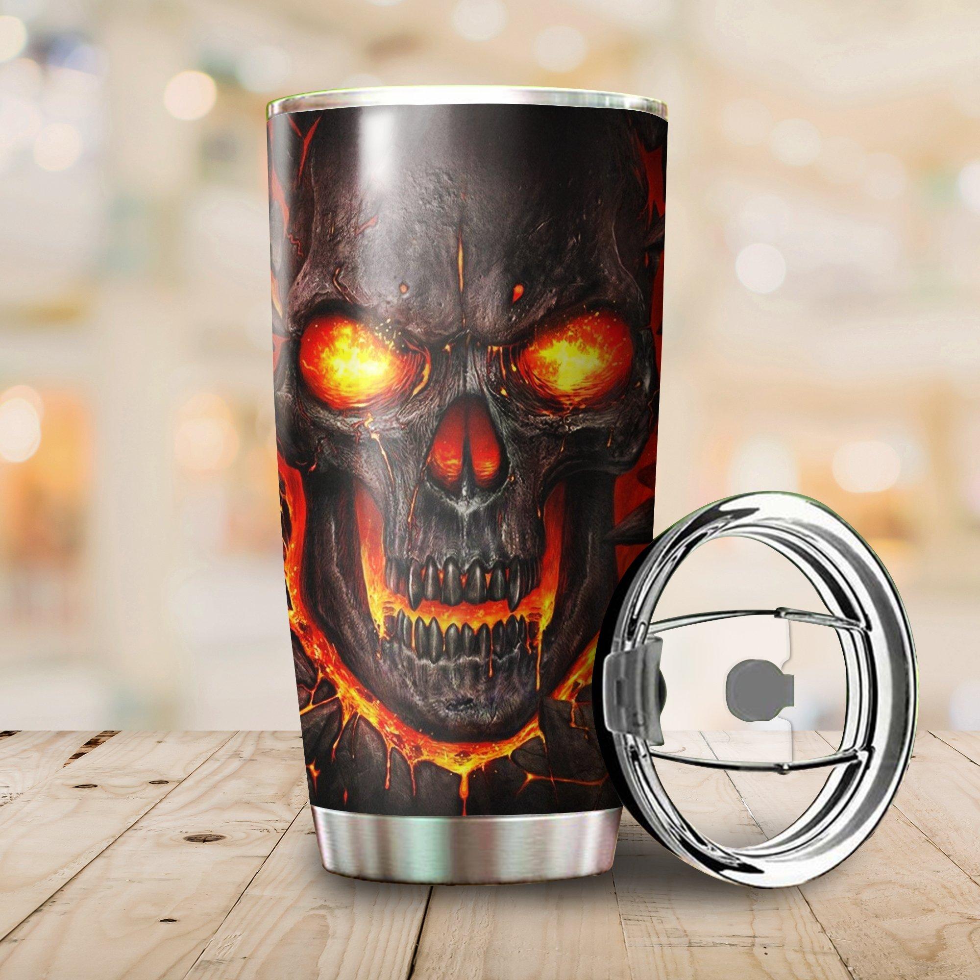 Lava skull full printing steel tumbler 3