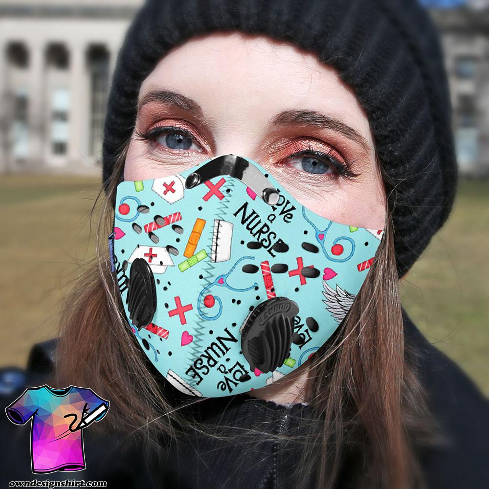 Love a nurse be strong carbon pm 2,5 face mask