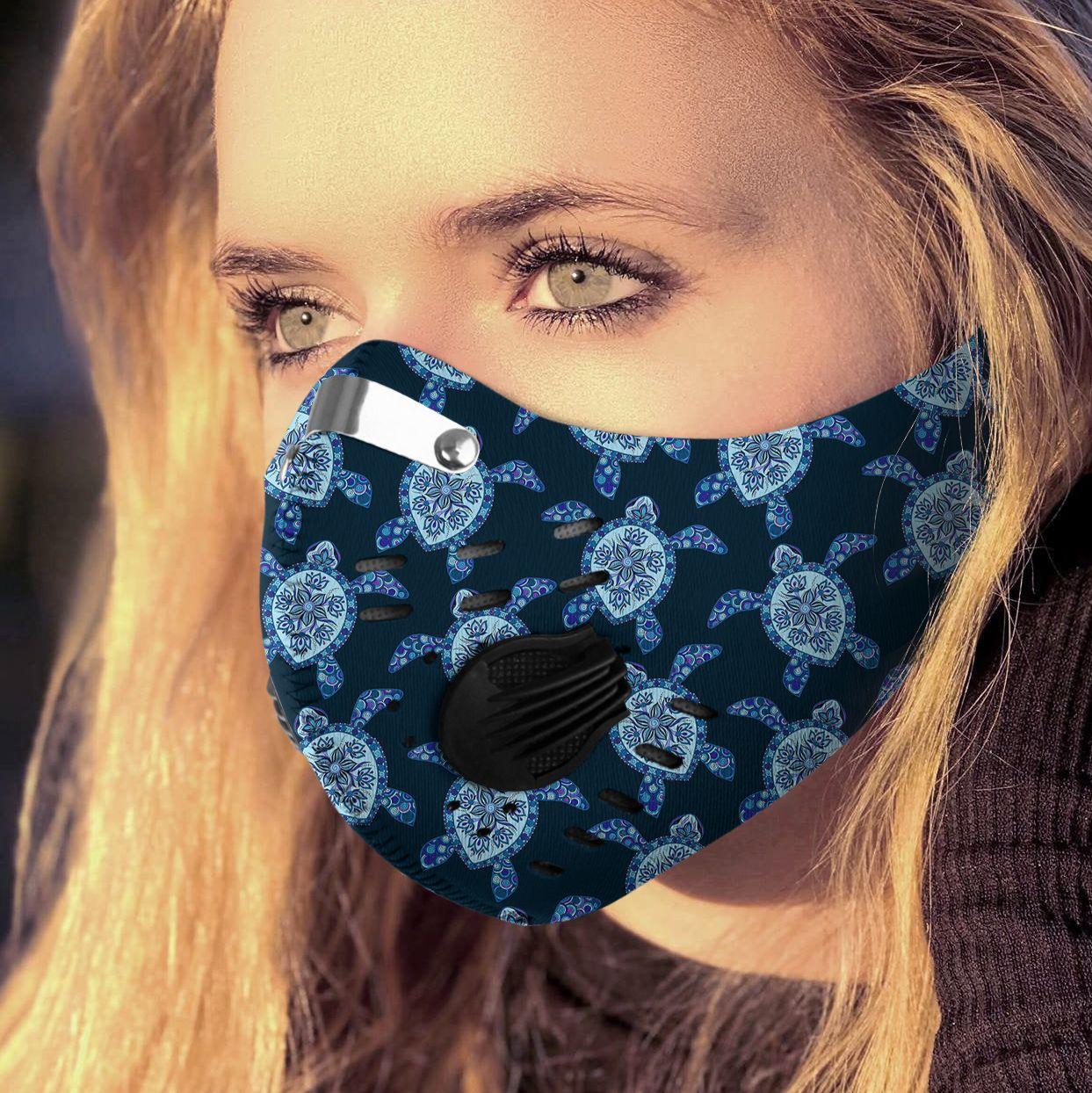Love sea turtle carbon pm 2,5 face mask 1