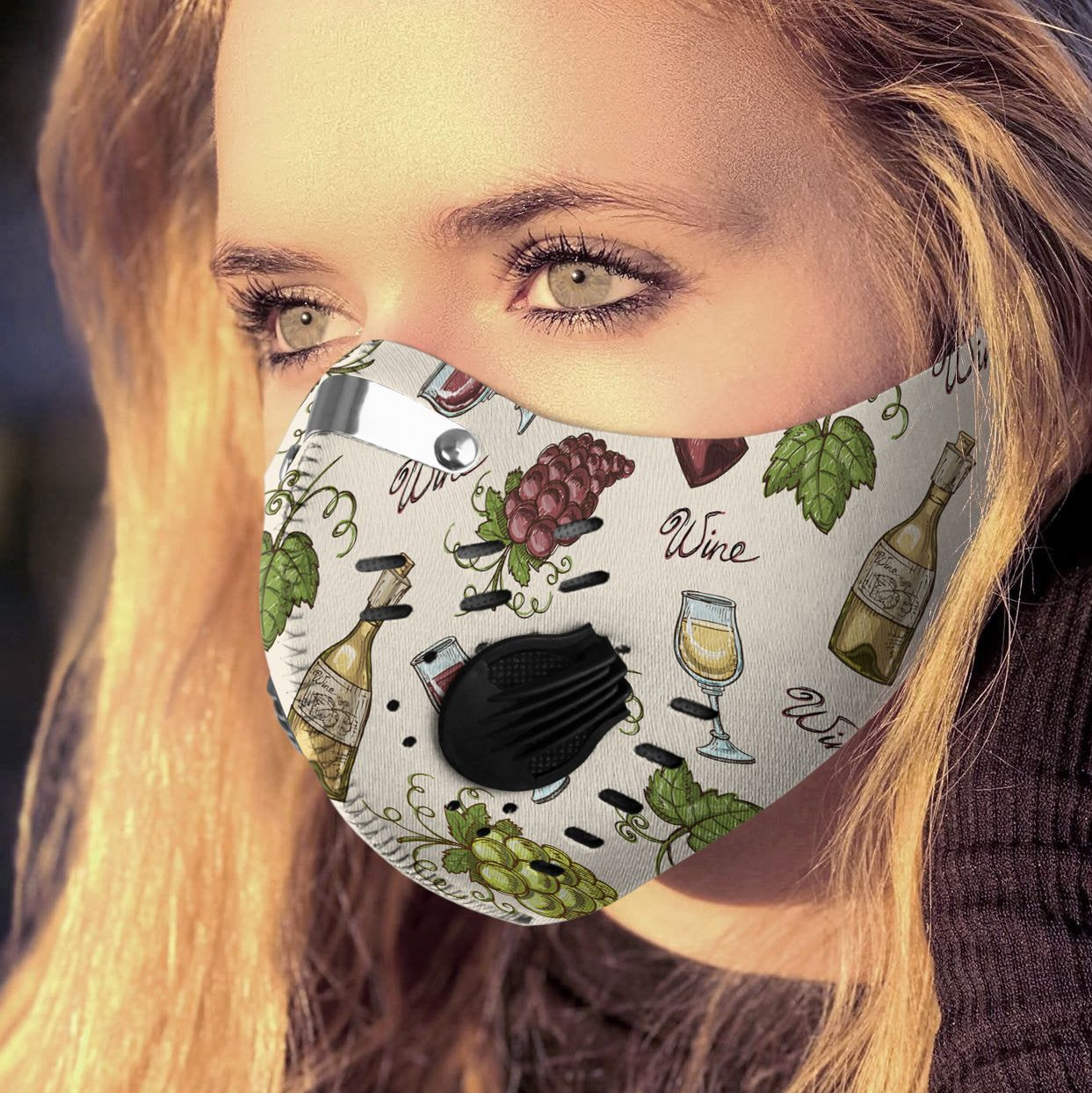 Love wine carbon pm 2,5 face mask 1