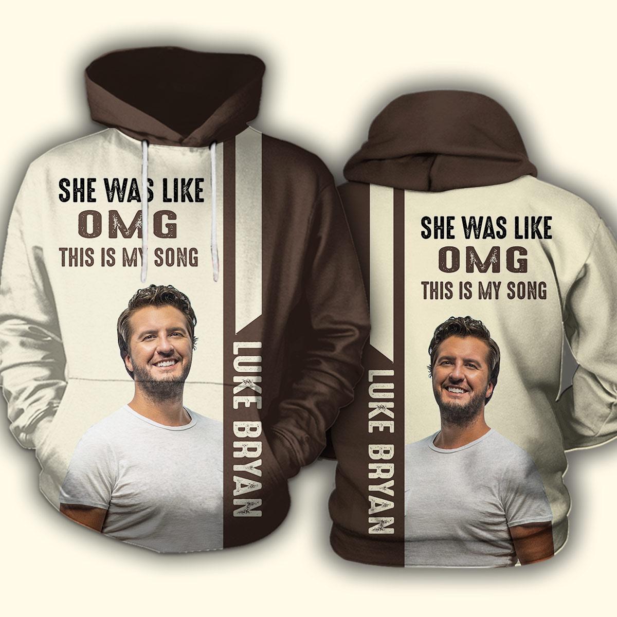 Luke bryan she was like oh my god full over print hoodie