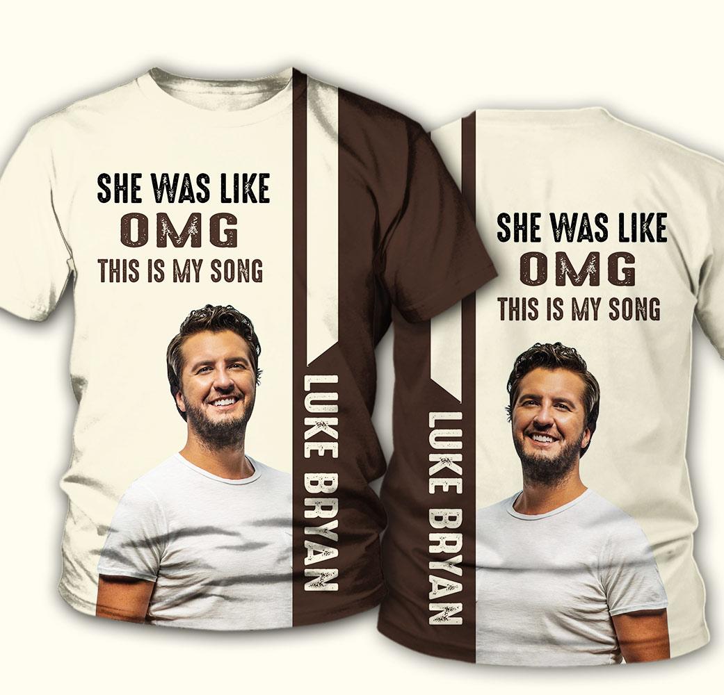 Luke bryan she was like oh my god full over print tshirt