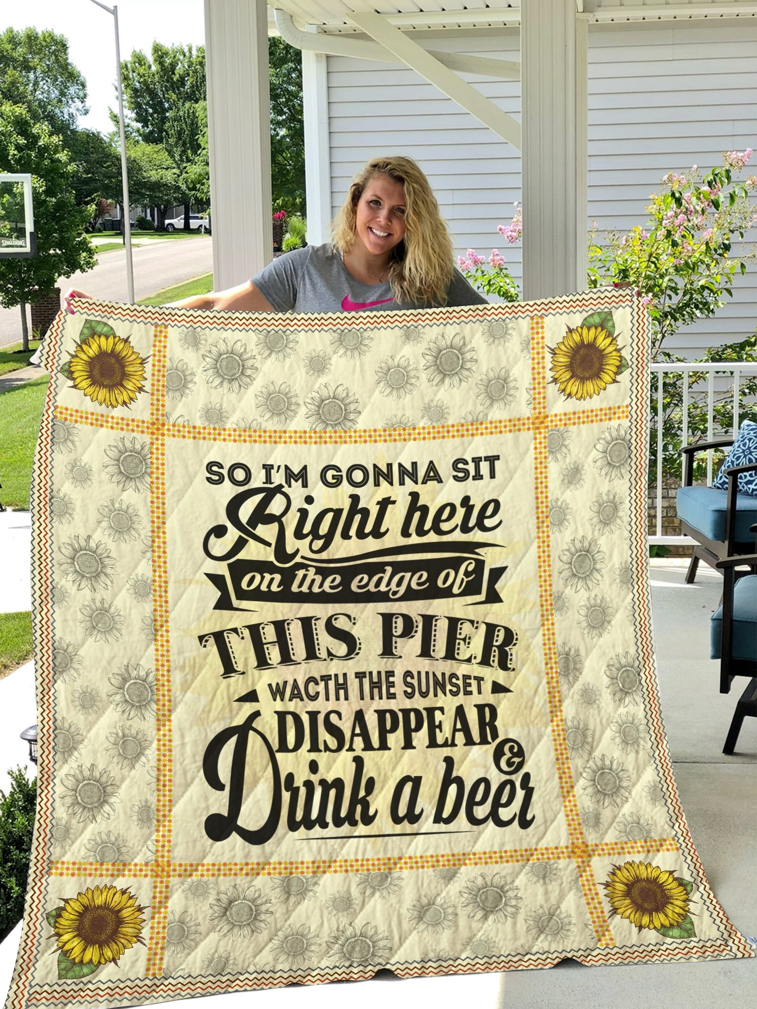 Luke bryan so i'm gonna sit right here and drink a beer quilt 1