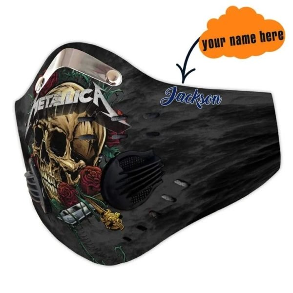 Metallica skull carbon pm 2,5 face mask 1