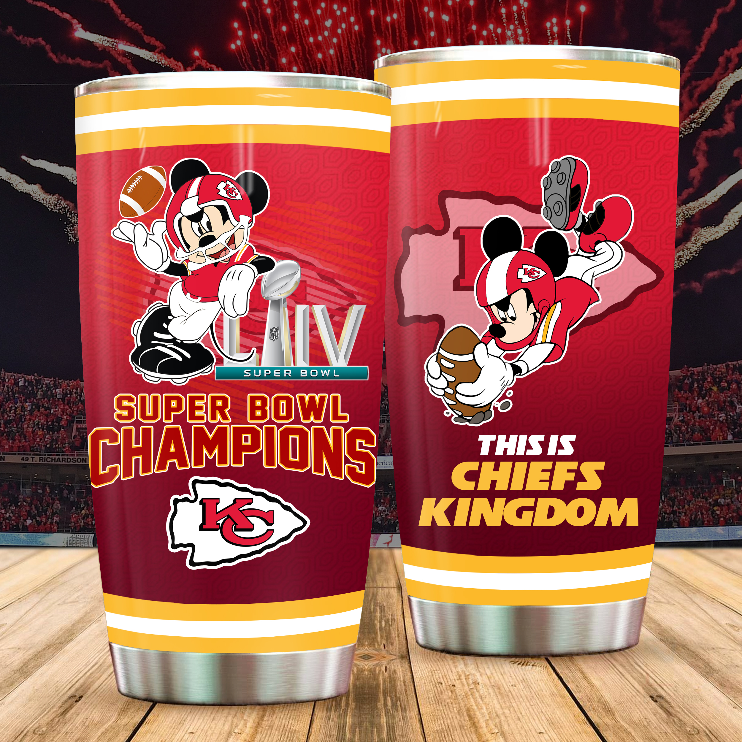 Mickey mouse kansas city chiefs all over printed tumbler 1