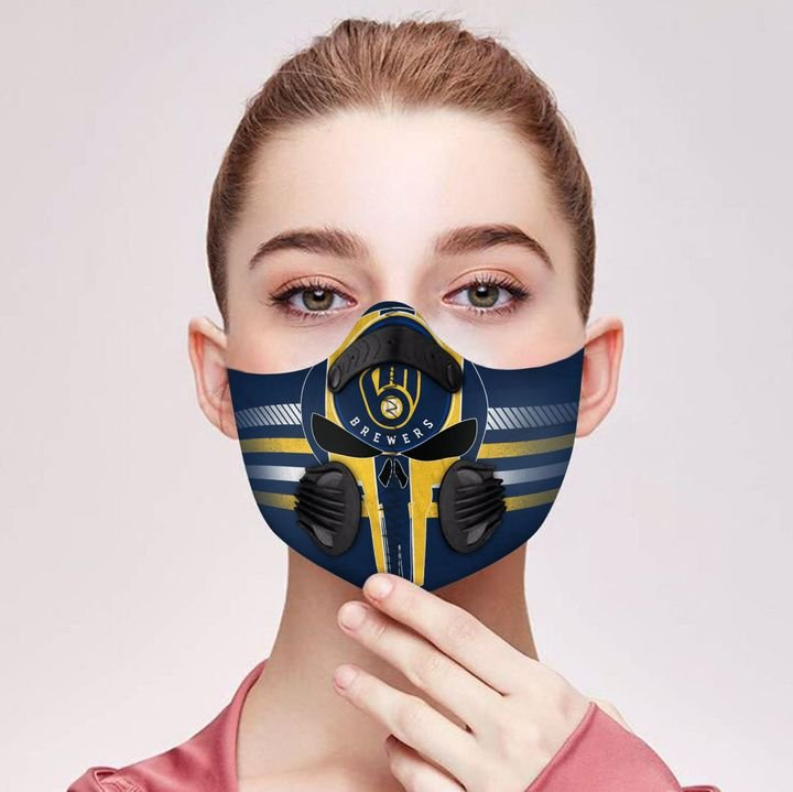 Milwaukee brewers team filter activated carbon face mask 1