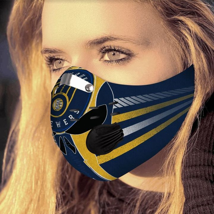 Milwaukee brewers team filter activated carbon face mask 4