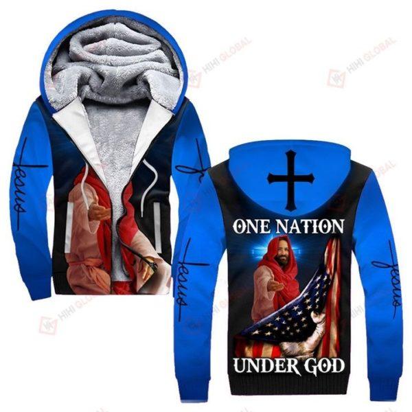 One nation under god us flag full over printed fleece hoodie