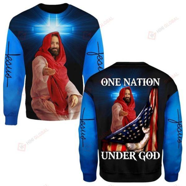 One nation under god us flag full over printed sweatshirt