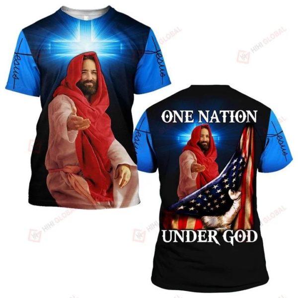 One nation under god us flag full over printed tshirt