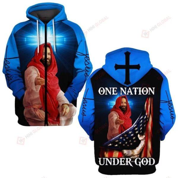 One nation under god us flag full over printed zip hoodie