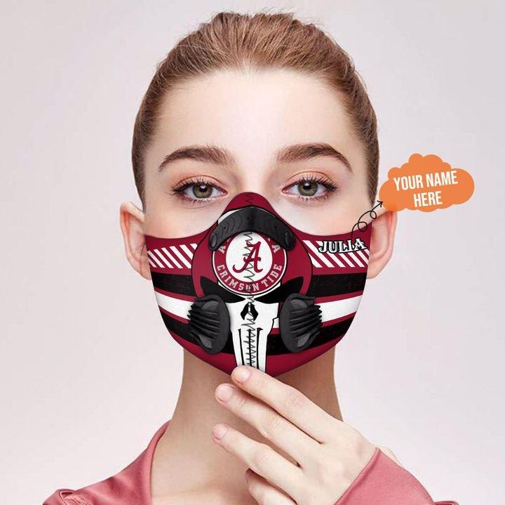 Personalized alabama crimson tide skull carbon pm 2,5 face mask 2