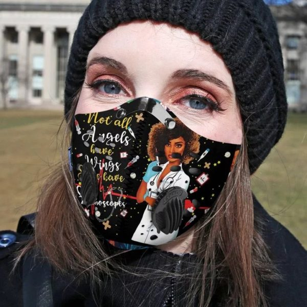 Personalized black nurse angels filter activated carbon pm 2,5 face mask 3