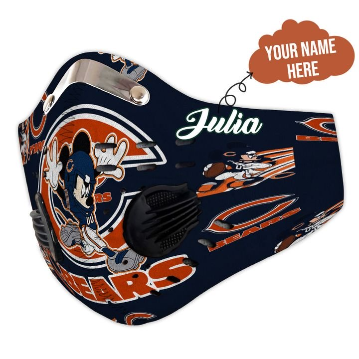Personalized chicago bears mickey mouse carbon pm 2,5 face mask 1