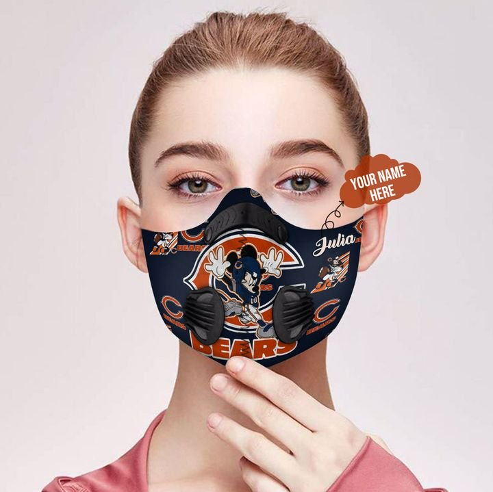 Personalized chicago bears mickey mouse carbon pm 2,5 face mask 2