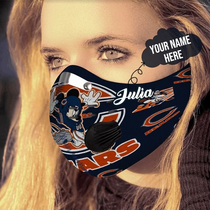 Personalized chicago bears mickey mouse carbon pm 2,5 face mask 4