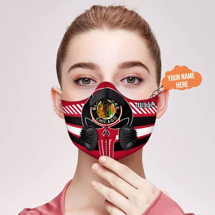 Personalized chicago blackhawks skull carbon pm 2,5 face mask 3