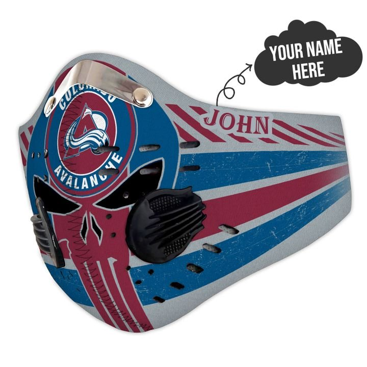 Personalized colorado avalanche skull carbon pm 2,5 face mask 1