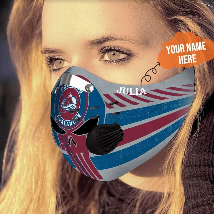 Personalized colorado avalanche skull carbon pm 2,5 face mask 3