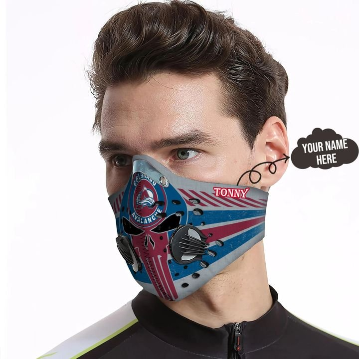 Personalized colorado avalanche skull carbon pm 2,5 face mask 4