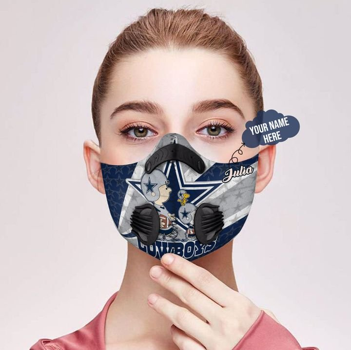 Personalized dallas cowboys charlie and snoopy filter activated carbon face mask 2