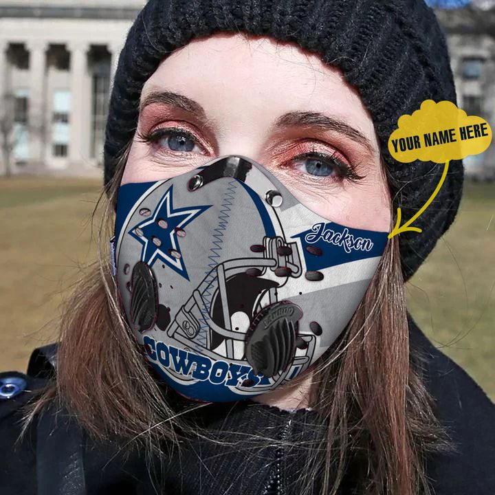 Personalized dallas cowboys helmet filter activated carbon face mask 2