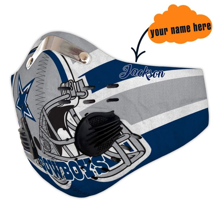 Personalized dallas cowboys helmet filter activated carbon face mask 3