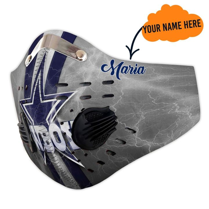 Personalized dallas cowboys logo filter activated carbon face mask 4