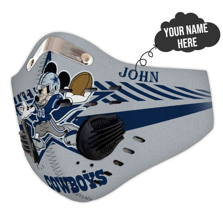 Personalized dallas cowboys mickey mouse filter activated carbon face mask 3