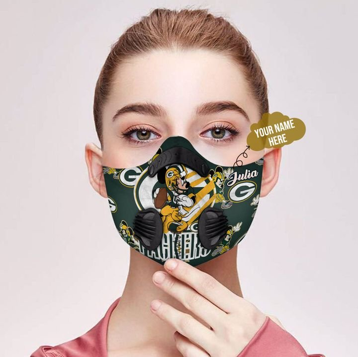 Personalized green bay packers mickey mouse carbon pm 2,5 face mask 2