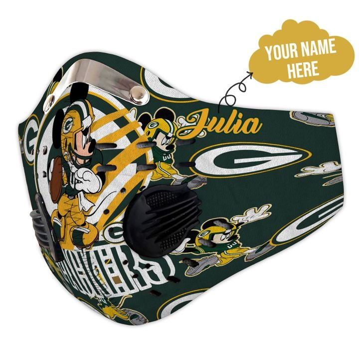 Personalized green bay packers mickey mouse carbon pm 2,5 face mask 3