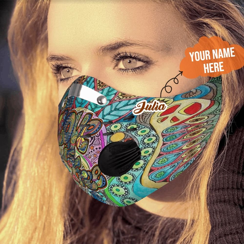 Personalized hippie carbon pm 2,5 face mask 1