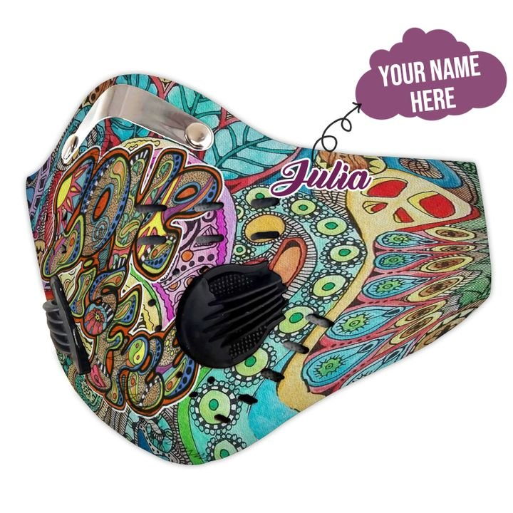 Personalized hippie carbon pm 2,5 face mask 4
