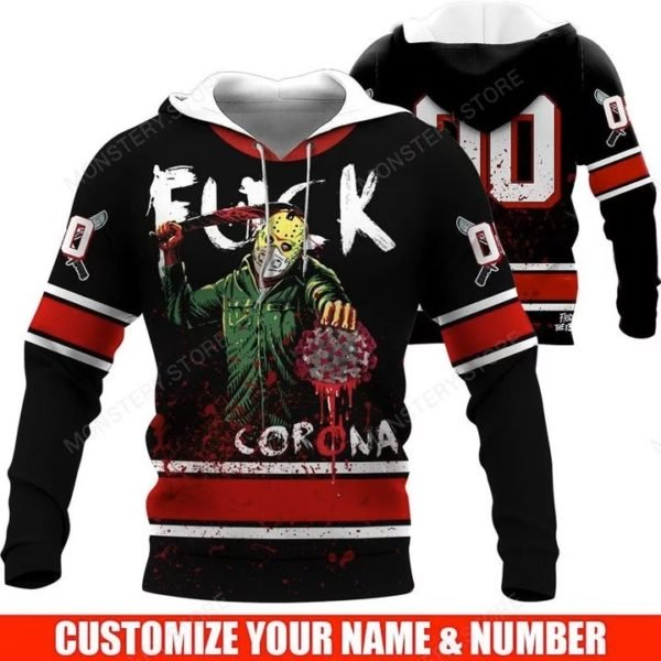 Personalized jason fuck corona full over printed hoodie 1