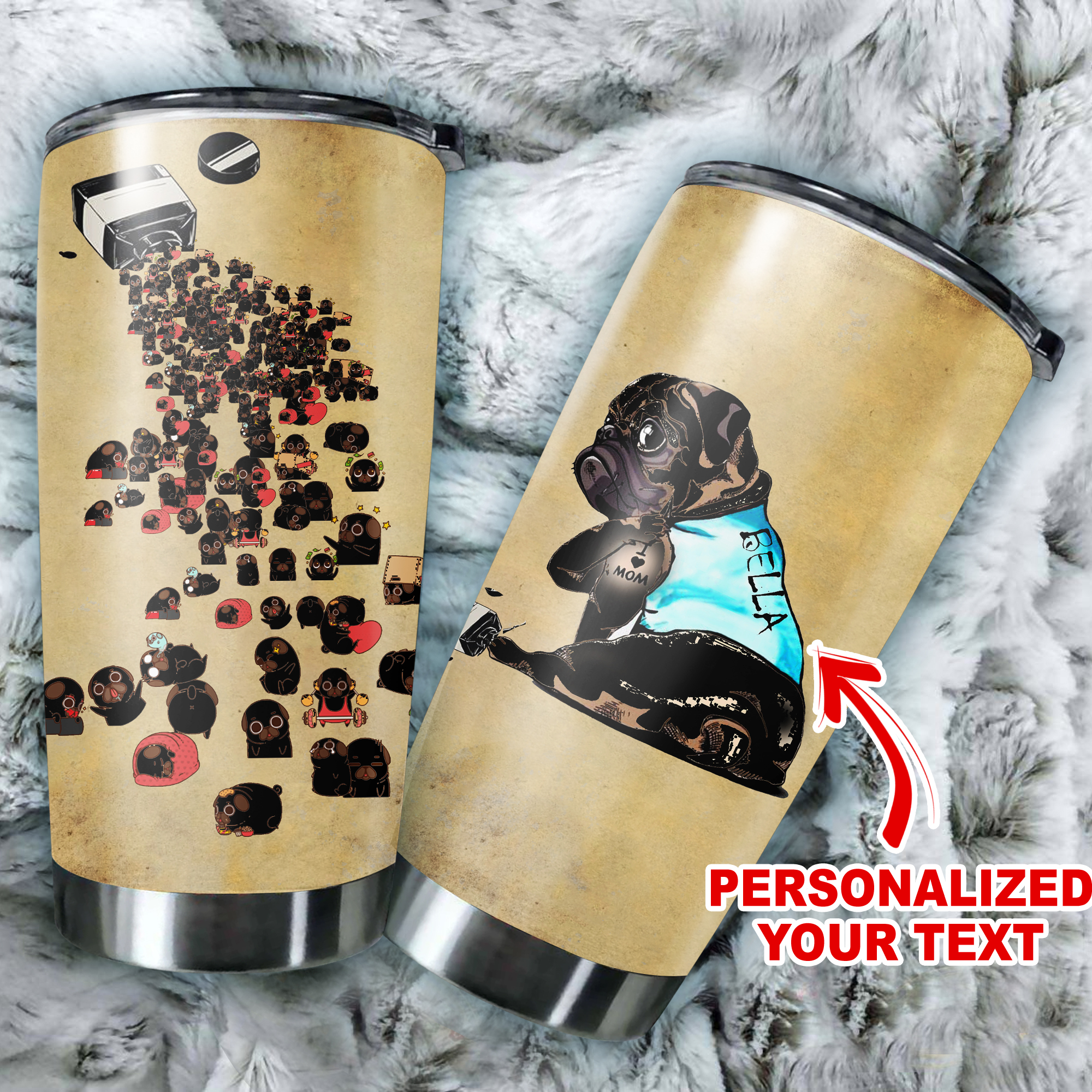 Personalized pug full over print tumbler 3