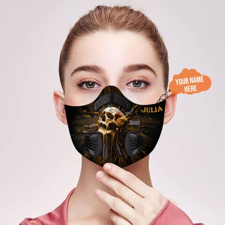 Personalized skull carbon pm 2,5 face mask 1